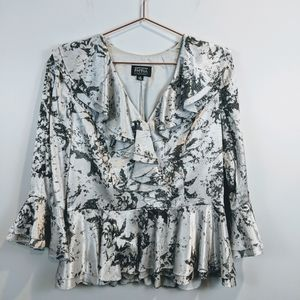 Adrianna Papell | Silver Metalic Ruffle Blouse